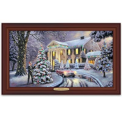 Thomas Kinkade Christmas At Elvis Presley's Graceland Home Illuminated Canvas Print Wall Decor by The Bradford Exchange