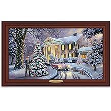 Thomas Kinkade Christmas At Elvis Presley's Graceland Home Illuminated Canvas Print Wall Decor by The Bradford Exchange