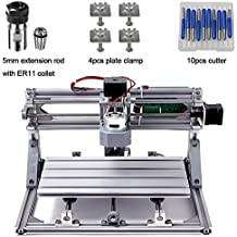 DIY CNC Router Kits 3018 GRBL Control 3 Axis Plastic Acrylic PCB PVC Wood Carving Milling Engraving Machine, XYZ Working Area 300x180x45mm CNC Router Machine with 5mm Extension Rod ER11 Collet