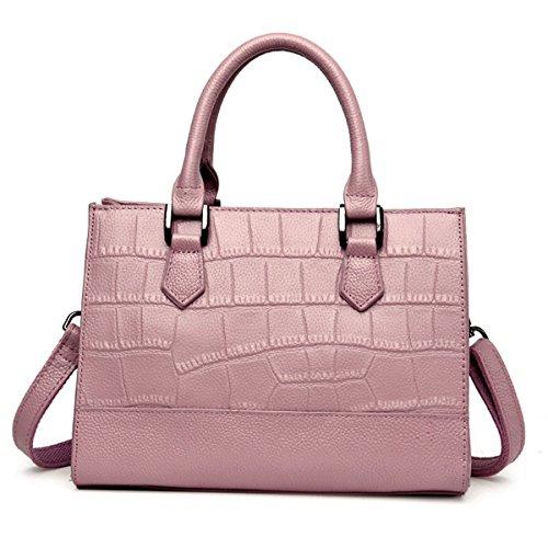 SXELODIE del Pink Bolsas Los Los W Mensajero De L del Hombro De Las Mujeres Bolsos Los De 27CM Cuero 15CM Crossbody De 20CM Las D Genuino Seoras Black rwIxrA0