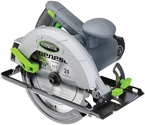 Genesis GCS130 13Amp 7-1 4In. Circular Saw with Metal Lower Guard 24T Carbide Tipped Blade, At 90 2-7 16 45 1-5 8