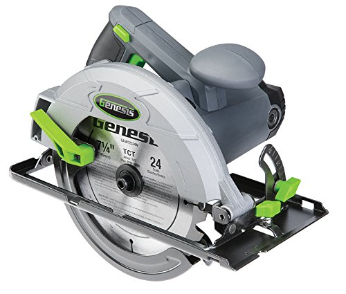 Genesis GCS130 13Amp 7-1/4In. Circular Saw with Metal Lower Guard & 24T Carbide Tipped Blade, At 90°: 2-7/16