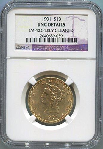 1901 P $10, Gold (Pre-1933) Unc Details NGC