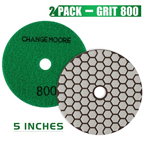 CHANGE MOORE Dry Diamond Polishing Pads 5'' for Marble Granite Travertine Terrazzo Concrete Stones, 2 pack-Grit 800 by CHANGE MOORE