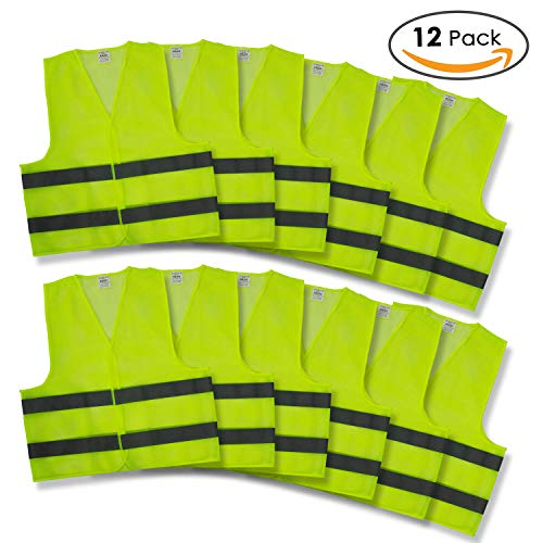 Reflective Safety Vests - Pack of 12 | High Visibility Neon Yellow Mesh | Fits Men and Women | For Construction and Surveyor Work, Security, Emergency, Event Volunteers, Traffic and Parking Workers by Kiloo (Image #7)