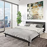 Manhattan Queen Bed Frame | Modern Style Low Profile Headboard + Platform Bedframe | Upholstered Bedroom Mattress Furniture + Soft Wood Footboards, Wooden Slats, Box, and Size Support Legs Included Variant Image