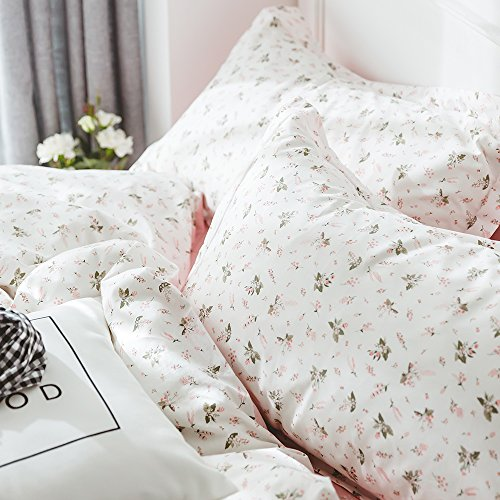HIGHBUY Floral Printed Kids Duvet Cover Set Full Cotton Pink for Girls Reversible Garden Style Bedding Sets Queen with Zipper Closure for Children Comforter Covers Lightweight Soft by HIGHBUY (Image #7)
