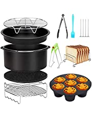 Air Fryer Accessoires 8 Inch 10 Stks voor Gowise Phillips Cozyna Airfryer XL 3.8QT-5.8QT, Extra Gift 4 Stks Barbecue Naald(Black 10PCS)