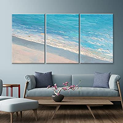 That's 100% USA Made, Charming Technique, 3 Panel Oil Painting Style Seascape with Waves on The Beach x 3 Panels