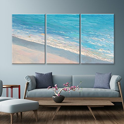 3 Panel Oil Painting Style Seascape with Waves on The Beach x 3 Panels
