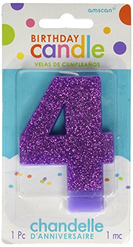 "Amscan 4 Birthday Glitter 3.25"" Numeral Candle Children's Party Supplies, Purple supplier"