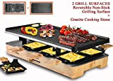 Artestia Electric Raclette Grill with Two Full Size Top Plates (Non-Stick Reversible Aluminum and High Density Granite Stone), Serve the whole family (Wood Pattern Full Size Stone/Aluminum Raclette)