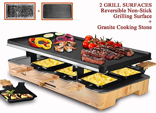 Artestia Electric Raclette Grill with Two Full Size Top Plates (Non-Stick Reversible Aluminum and...