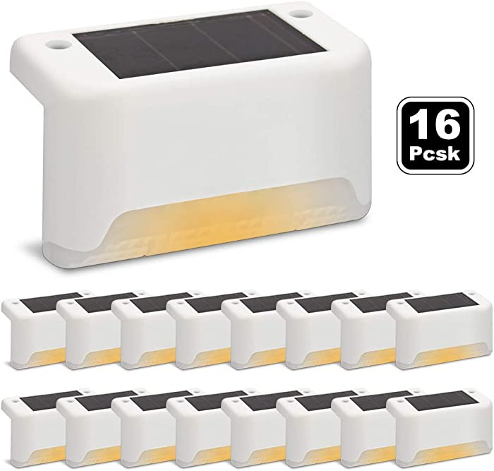 Solar Deck Lights 16 Pcs, Solar Step Lights Outdoor Waterproof Led Solar Fence Lamp for Patio, Stairs,Garden Pathway, Step and Fences(Warm White) (16 Packs (White))