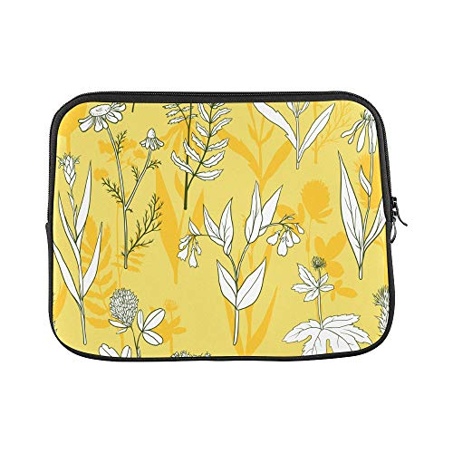 "Design Custom Calendula White Vintage Hand Drawn Sleeve Soft Laptop Case Bag Pouch Skin for MacBook Air 11""(2 Sides)"