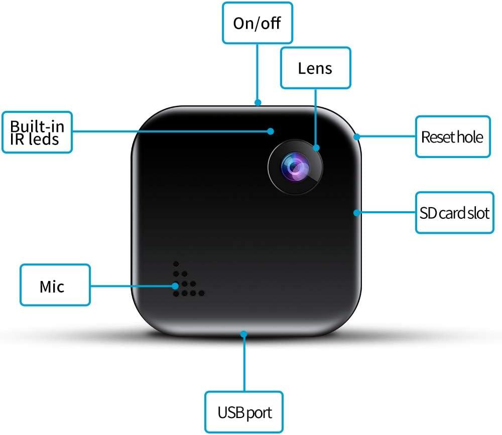 Mini Kamera TDW HD 1080P Mini /Überwachungskamera WLAN Kabellos IP Kamera mit Handy App Aufzeichnung f/ür Aussen Innen Monitor Schwarz-02