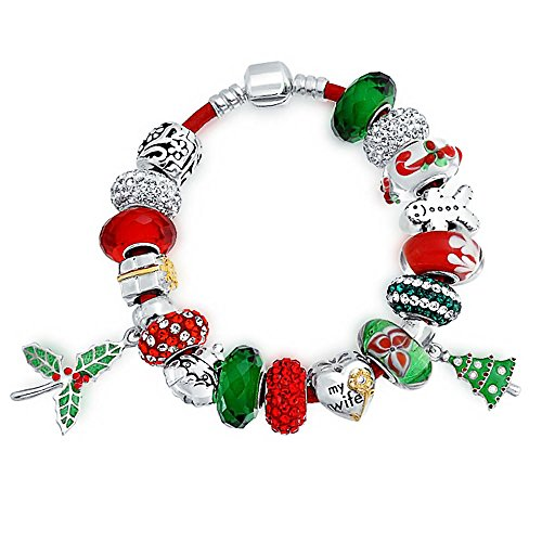 Bling Jewelry Sterling Silver My Wife Heart Charm Christmas Bead Bracelet With Dangle Enamel Glass Charm by Bling Jewelry