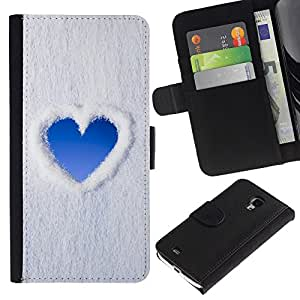 UberTech / Samsung Galaxy S4 Mini i9190 MINI VERSION! / Blue Heart Sky Snow Clouds Love / Cuero PU Delgado caso Billetera cubierta Shell Armor Funda Case Cover Wallet Credit Card