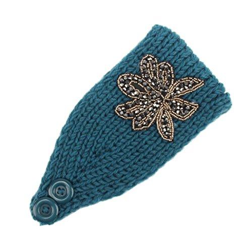Deamyth Women Knit Wool Headband Hat Hairband With Rhinestone Flower (Blue)