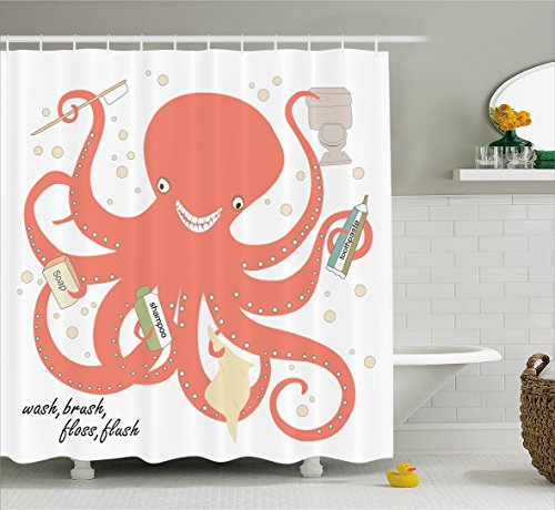 Nautical Decor Shower Curtain by Ambesonne, Octopus in My Bathroom Holding Sap Shampoo Toothbrush Toothpaste with Tentacles Wash Brush Floss Dots Modern Design Theme Fabric Bath, Coral Beige Green