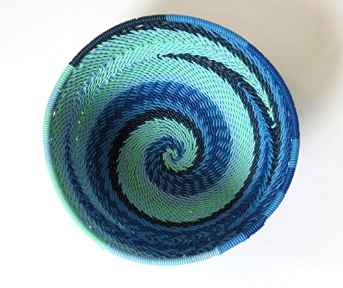 African Zulu woven telephone wire bowl – Extra small round - Blue - Gift from Africa