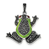 ICE CARATS 925 Sterling Silver Marcasite Red Garnet Green Epoxy Frog Pendant Charm Necklace Animal Fine Jewelry Ideal Gifts For Women Gift Set From Heart