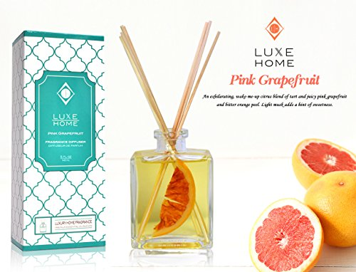 Luxe Home Pink Grapefruit Fragrance Reed Diffuser Oil Gift Set | Infused with Real Fruit Inside The Bottle | Our Scented Sticks are Eco-Friendly & Made in The USA]()
