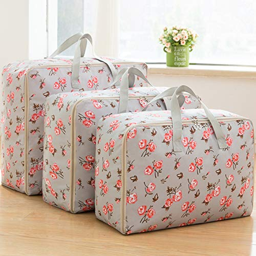 Jujin 3-Pieces Oxford Large Clothes Organizer Storage Bags for Comforters and Blankets Clothing Flower
