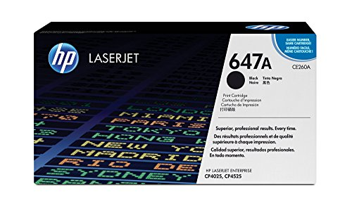 (HP 647A (CE260A) Black Toner Cartridge for HP Color LaserJet Enterprise CM4540 CM4540f CP4025n CP4025dn CP4025xh CP4525n CP4525dn CP4525xh)