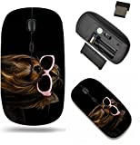 Liili Wireless Mouse Travel 2.4G Wireless Mice with USB Receiver, Click with 1000 DPI for notebook, pc, laptop, computer, mac book Yorkie with pink sun glasses against black backg