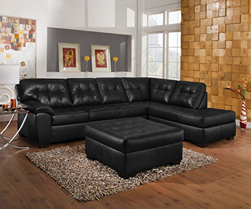 (Acme Shi Sectional Sofa, Onyx Leather-Aire (1Set/2Ctn) Transitional/Contemporary/Onyx LeatherAire/Onyx LeatherAire)