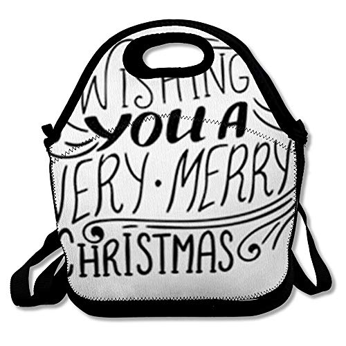 Insulated Lunch Bag for Adult Men Women Vintage Text Wishing You Very Merry Christmas Quote Script Holidays Lettering Year Black Brush Reuable Lunch Tote Box for Work and School (Quotes Merry Christmas Wishing)