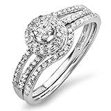 0.48 Carat (ctw) 14k White Gold Round Diamond Bridal Split Shank Halo Style Engagement Ring Set 1/2 CT