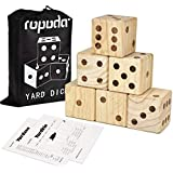 """ROPODA Giant Wooden Yard Dice-Giant Outdoor Gaming Dice Set 3.5""""-Includes 6 Dice, Scoreboard and Canvas Carrying Bag-Great Backyard and Lawn Game."""