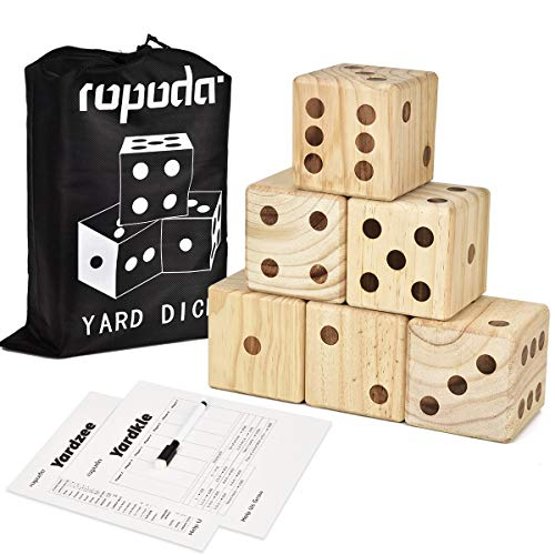 (ROPODA Giant Wooden Yard Dice-Giant Outdoor Gaming Dice Set 3.5
