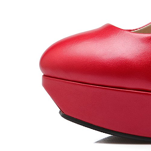 Spikes Stilettos Women's VogueZone009 Round PU Solid Closed Shoes Pumps Toe Buckle Red SF6Ftq