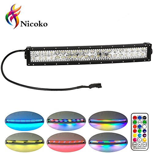 Nicoko 20/22 Inch 120w Curved Led Light Bar with Chasing RGB halo ring for 10 Solid Color Changing with Strobe Flashing Spot Flood Combo Beam IP68 waterproof Free wiring harness for Off road Truck