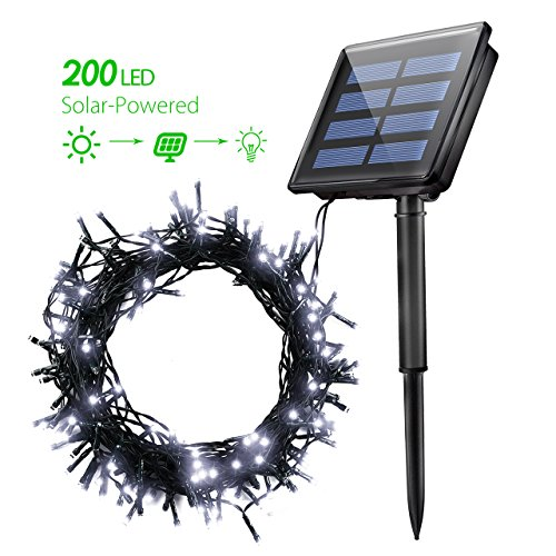 Solar String Lights, Atmoko 72Ft 200 LED waterproof String Lights ,Fairy Outdoor Decorative Lights for Yard, Garden, wedding, Christmas, lawn, homes (Cool White)