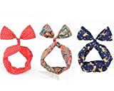 Newest trent 3 Pcs Fashion Dolly Bow Rabbit Ear Wired Headband , Multi-function Silk Hair Tie Bow Elastic Bowknot Hoop for girls. offers