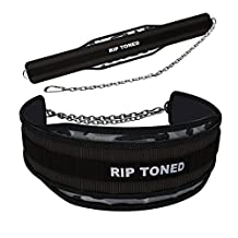 Lifting Dip Belt By Rip Toned - 6 Inch Wide Weightlifting Dip Belt With Heavy Duty Steel Chain & Bonus Ebook - For Powerlifting, Xfit, Bodybuilding, Strength & Weight Training, MMA