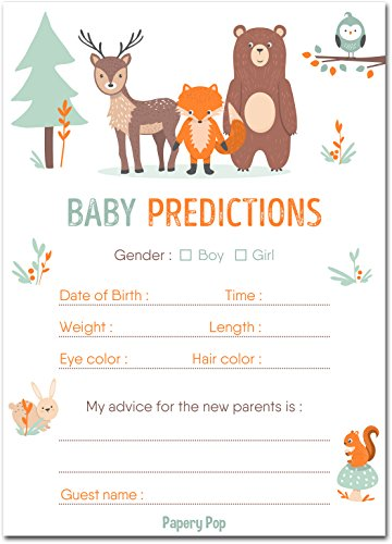 - 30 Baby Shower Prediction and Advice Cards, Boy or Girl - Baby Shower Games Decorations Activities Supplies Invitations - Woodland Animals
