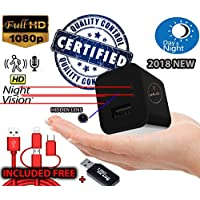 MellowCase[Real Night Vision Model] -1080p USB Hidden Spy Camera Wireless Wall Charger -32GB- Nanny Cam Gear Home Surveillance Video With Motion Security - Bonus 3 in 1 Cable - 2018 Upgraded