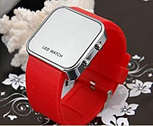 Estilo deportivo Digital espejo LED o cama de matrimonio de silicona Unisex deporte reloj. (rojo)