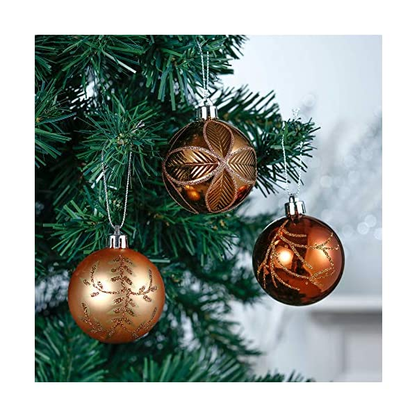 Valery Madelyn Palle di Natale 30 Pezzi 6cm Palline di Natale, Rame da Bosco e Oro Infrangibile Ornamenti Palla di Natale Decorazione per Albero di Natale Decor 4 spesavip