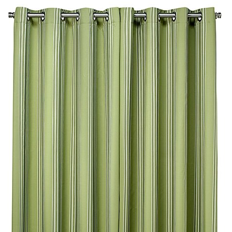 Commonwealth Home Fashions Gazebo Striped 96-Inch Outdoor Curtain in Green