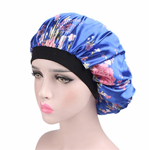(Qhome Luxury Wide Band Satin Bonnet Cap Comfortable Night Sleep Hat Hair Loss Cap)