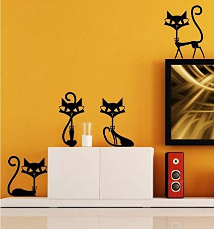 Amazon.com: MIXMAX Black Cats Sticker Wall Decal Home Decor for Bar ...