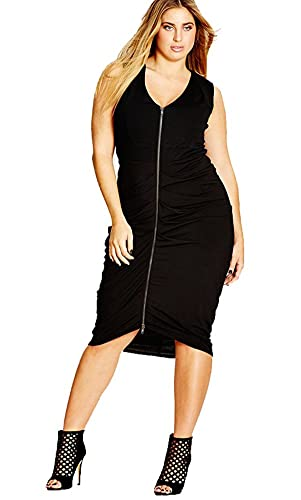 City Chic Plus Size Ruched Front-Zip Bodycon Dress