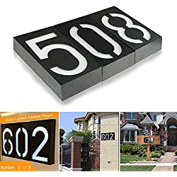 Solar Lighted Address Plaques - Address Sign For Your Home - Bright Custom House Plaque to Help Emergency Responders, Delivery Drivers , and Visitors to Find Your Home Quickly (Number 4)