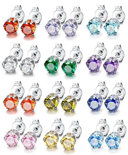 LOYALLOOK 12 Pairs Stainless Steel Round Cubic Zirconia Diamond Birthstone Stud Earrings for Women 8mm